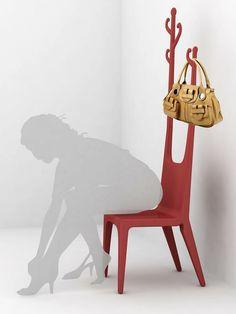 porte manteau original en forme de chaise - Valet Chaise Bois