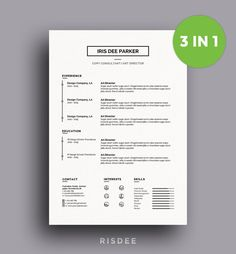 SALE Resume Template With Photo / CV by ResumeTemplateRISDEE