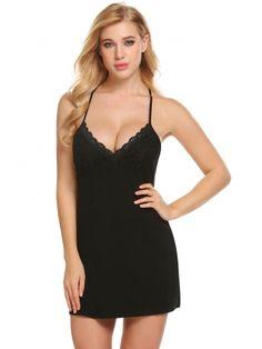 323256871d3 Black Women Cross Strappy Chemise Slip Nightgown Sleepwear Lounge Dress