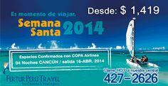 Espacios confirmados con Copa Airlines para este paquete turístico a Cancún por la Semana Santa. Desde hoy puede reservar y pre pagar este viaje con fecha de salida para el 16 de abril 2014. Son 04 noches en el hotel todo incluido de su elección. Espacios limitados.