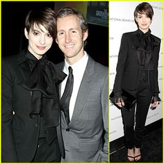 cute outfit! love the hairstyle on her too! Anne Hathaway & Adam Shulman - NBR Awards Gala 2013
