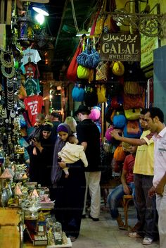 Marketplace, Cairo, EGYPT. Khan el-Khalili bazaar, Cairo, Egypt -- The famous Khan el-Khalili bazaar, spread like a warren over several blocks in downtown Cairo, is lit, crowded, and eagerly serving locals and tourists alike until late at night, nearly every night. © Rick Collier / RickCollier.com