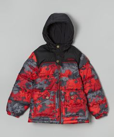 Another great find on #zulily! Red & Black Camo Puffer Coat - Boys by Pacific Trail #zulilyfinds