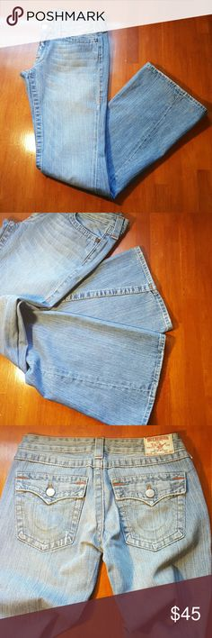 True religion Joey jeans Light blue..orange and tan stitching..authentic..not sure if these are bootcut or flare leg...in good condition...marker writing on inside pocket... True Religion Jeans Flare & Wide Leg