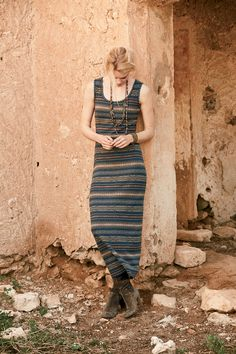 Love the stripes on this dress! Barlocco Dress, Trade Beads Necklace/Bracelet, Amiata Necklace