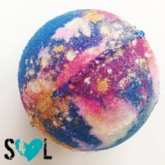 Say hello to our gorgeous Galaxy Bomb! This jumbo 8 oz Bath Bomb is beautiful! When it arrives, you will see that we have used shimmering silver,