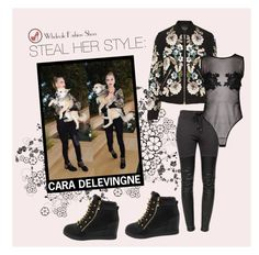 """""""Steal Her Style: Cara Delevingne"""" by wholesalefashionshoes ❤ liked on Polyvore featuring Chanel, Ragdoll and Needle & Thread"""