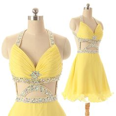 DIYouth.com Sexy Unique Design Halter Neck Beaded Crystal Open Back Short Yellow Prom Dress