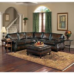 This Bernhardt full-grain semi-aniline leather sectional sofa is also extremely comfortable - its blendown seat cushions are incredibly comfy and the sofa only gets better with time.  Custom orders available. See store for details.   *Please see Specifications tab below for additional product information.