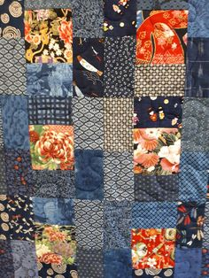 Japanese Quilt Patterns, Japanese Quilts, Japanese Textiles, Japanese Fabric, Jellyroll Quilts, Easy Quilts, Small Quilts, Quilting Projects, Quilting Designs