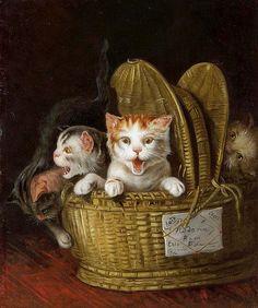 LOUIS EUGENE LAMBERT Korb mit drei jungen Katzen TRUEParis 1825-1900 Paris Öl auf Lwd., 38,8 x 31,4 cm private collection