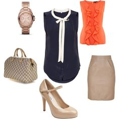 """""""Summer Business Casual"""" by noreen715 on Polyvore...this just shows that all you need is a few basic bottoms that you can alternate and use a bunch of diff tops to make new outfits!"""