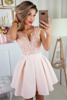 Newest Deep V Neck Lace Top Satin A Line Short Homecoming Dress, – dressystyles Hoco Dresses, Pretty Dresses, Homecoming Dresses, Beautiful Dresses, Formal Dresses, Dream Dress, Knit Dress, Lace Top Dress, Ideias Fashion