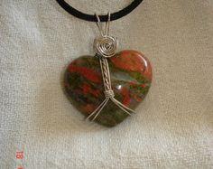 Unakite srdce náhrdelník s príveskom ručné domáce zelená čakra plodnosť prirodzená láska strieborný unikite spájkovacia darčeka šperky darček k narodeninám sex