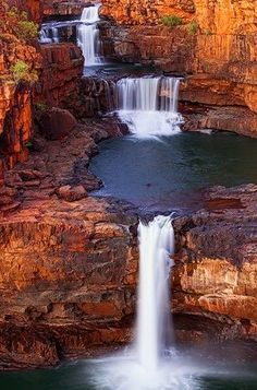 The vast expanse of Mitchell Falls meant that most of my shots were in landscape format, or wide panoramas trying to capture the rocks and the whole scene. But one of my friends asked for some vert… Outback Australia, Australia Travel, Australia Visa, Sydney Australia, Beautiful Waterfalls, Beautiful Landscapes, Travel Photography Inspiration, Mitchell Falls, Places To Travel