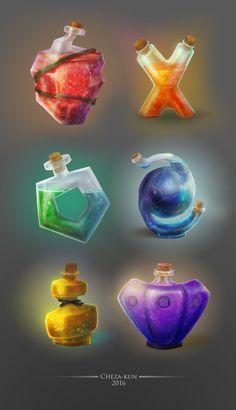 Potion set by Cheza Kun on ArtStation. Anime Weapons, Fantasy Weapons, Fantasy Rpg, Fantasy World, Weapon Concept Art, Game Concept Art, Bottle Drawing, Magic Bottles, Game Props