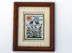 Sampler - Brown Frame (Y213) - Paintings. Over 10,000 similar dolls house miniature products available from www.thedollshousestore.co.uk