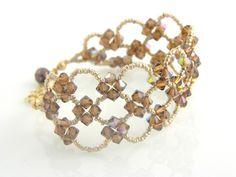 Topaz Swarovski and Seed Bead Bracelet-swarovski crystal bracelets, beadwoven bracelets, unique jewelry, bridal jewelry, gifts for her, homemade jewelry