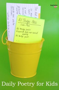 Poetry Daily for Kids - keep a bucket of poems ready to give to your kids Poetry Activities, Spelling Activities, Reading Activities, Literacy Activities, Activities For Kids, Activity Ideas, Poetry Books For Kids, Poetry Unit, Writing Poetry