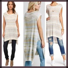 "Free People Sunny Days Sweater Stunning hi/low sweater with cap sleeves and scoop neck. Natural with all over stripes in soft shades of light blue and gold. 13% linen, 36% Cotten, 51% viscose. Approx 53"" long, slit at sides. Flawless, from a pet/smoke free home. Free People Sweaters"
