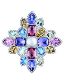 The San Marco brooch in 18 kt white gold with diamonds and coloured gemstones by Chanel