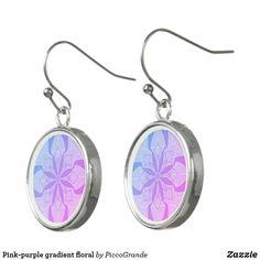Pink-purple gradient floral earrings Pink Purple, Mothers, Fashion Jewelry, Perfume, Valentines, Gift Ideas, Drop Earrings, Sterling Silver, School