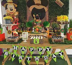 Mickey Mouse Birthday Theme, Safari Theme Birthday, 1st Birthday Themes, Wild One Birthday Party, Mickey Party, Mickey Mouse Clubhouse, 1st Boy Birthday, Safari Party, Safari Candy Table