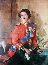 PAINTING QUEEN ELIZABETH II MILITARY REGALIA PORTRAIT ART PRINT POSTER CC1037