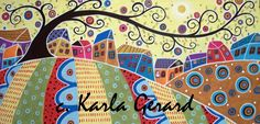 Karla Gerard hooked rug pattern - Houses and Swirl Tree