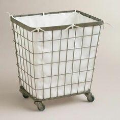 Ellie Rolling Hamper  at Cost Plus World Market >> #WorldMarket Laundry Organization Tips