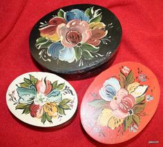 Norwegian Rosemaling 3 nesting wooden boxes by PatVirch on Etsy, $45.00