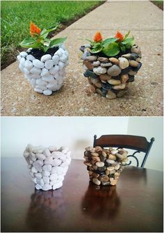 Fall is my favorite time for outdoor DIY projects. It's not too hot and there. - - Fall is my favorite time for outdoor DIY projects. It's not too hot and there's just something about landscaping against those beautiful fall colors t. Stone Planters, Diy Planters, Fall Planters, Outdoor Planters, Diy Garden Projects, Garden Crafts, Outdoor Projects, Garden Ideas, Garden Art