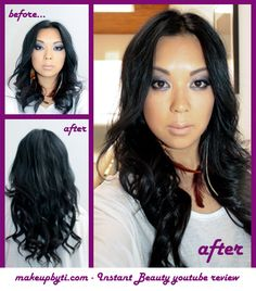 Instant Beauty Hair Extensions    Clip In 150g Deluxe 10 PC Full Set - #1B Natural Black 18 Inch Length  www.instantbeauty.ca    Click to view a video review by Ti