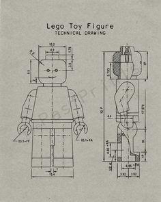 Lego Printable | Lego Figure Techincal Drawing | Lego Art | Lego Print | Lego Poster | Lego Drawing | Lego Decor | Blueprint | Kids Gift by ThePastPrints on Etsy