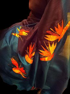 Handmade bird of paradise flower applique silk saree with bead and thread embellishments. Birds Of Paradise Flower, Snow Flakes, Flower Applique, Silk Sarees, Hand Stitching, Embellishments, Sari, Hand Painted, Beads