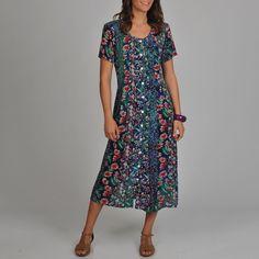 La Cera Women's Floral Print Pleated Front Dress | Overstock.com