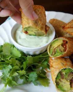 Avocado Egg Rolls with Creamy Cilantro Ranch Dip. These sound fantastic!