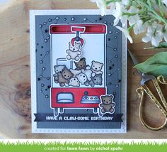 Nichol Spohr LLC: Lawn Fawn Summer Release May Inspiration Week | You're Claw-some Slider & Gift Card Holder Card