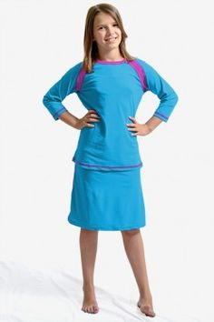 eb9713dd625e9 Our sun safe, modest raglan 3/4 sleeve swim top is bright and colorful