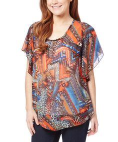 Look what I found on #zulily! Orange & Blue Abstract Cape-Sleeve Tunic - Plus Too #zulilyfinds