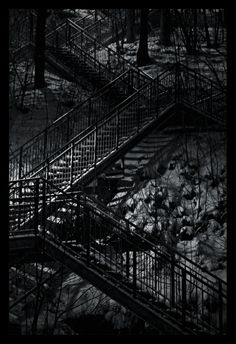 black and white, cold, snow, stair, stairs, steep - inspiring picture ...