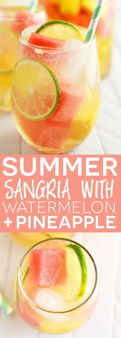 Summer Sangria with Watermelon and Pineapple -- made with just a few ingredients (including the fruit) and there are NO simple syrups involved, just wine, brandy, fruit, and some soda for fizz!