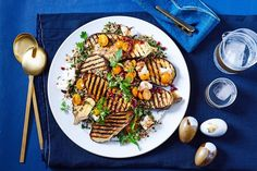 Grilled eggplant with herb and feta wild rice tabbouleh Eggplant Pizzas, Eggplant Salad, Grilled Eggplant, Tabbouleh Recipe, Avocado Pesto Pasta, Slow Cooked Lamb, Wild Rice, Herb, Vegetarian Recipes