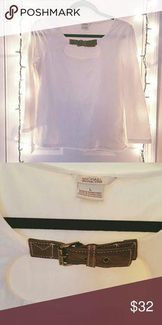 MICHAEL KORS BLOUSE Adorable Michael Kors shirt, brown belt and buckle around chest area. Quarter length sleeves. Michael Kors Tops Blouses