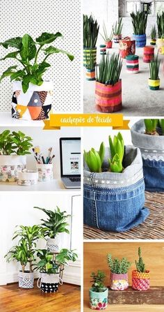 Fun Diy Crafts, Diy Arts And Crafts, Diy Para A Casa, Plant Bags, Plant Covers, Growing Plants Indoors, Coffee Shop Design, Fabric Bins, Diy Wall