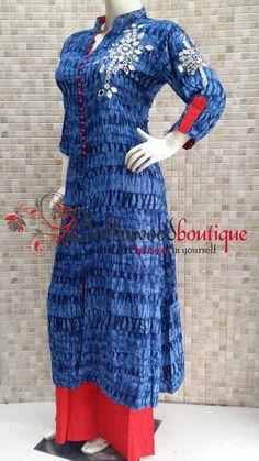 Designer Long Kurti With Mirror Embroidery #Kurtis #Designer_Wear #Ethnic_Style #Mirror_Embroidery #BollywoodBoutique #Bollywood_Boutique #Bollywood_Boutique_Hoshiarpur