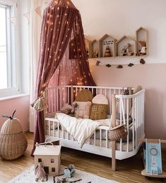What a magical nursery room by 👈🏻 We've added a selection of linen canopies to our Winter Sale 💕 . Nursery Wall Decor, Nursery Design, Baby Room Decor, Nursery Room, Nursery Lighting, Nursery Ideas, Baby Bedroom, Kids Bedroom, Bedroom Ideas