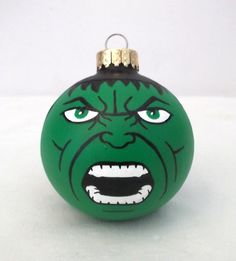 The Incredible Hulk, the Avengers Green Goliath has been hand painted as a Christmas Ornament! Check out all the Marvel Superheroes on the Ginger Pots Etsy store!