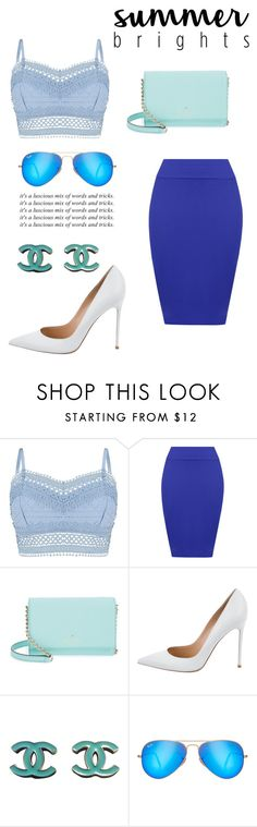 """""""Bright Blue"""" by lialicious ❤ liked on Polyvore featuring Lipsy, WearAll, Kate Spade, Gianvito Rossi, Chanel, Ray-Ban and summerbrights"""