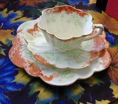 Antiques And Teacups: Tuesday Cuppa Tea, This is a Wileman China teacup trio in the Empire shape with a pattern called Floral Print With Scroll...